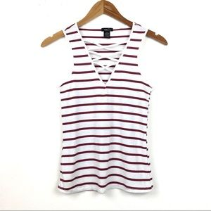Rue 21 | Strappy Criss Cross Striped Ribbed Tank